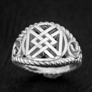 Кольцо с рунами Дагаз Ингуз - серебро